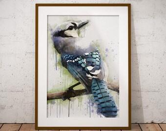 Blue Jay Printable Art, Bird Painting, Bird Print, Blue Jay Watercolor Print, Instant Download, Printable Art,  Wall Art