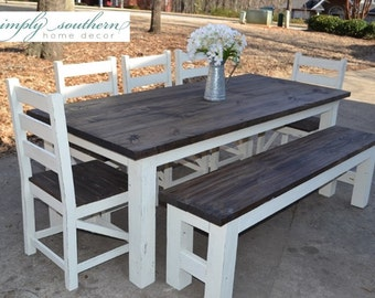 Elegant Farmhouse Table W/ Square 4 X 4 Legs (Custom Built)