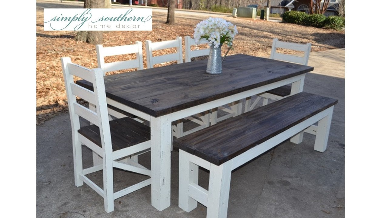 Farmhouse Table w/ Square 4 x 4 Legs Custom Built