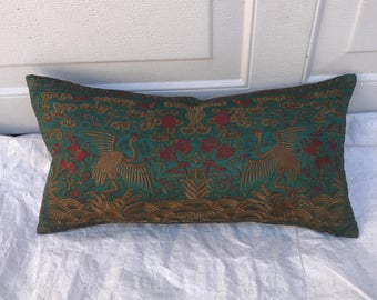 Hollywood Regency Jade & Gold Asian Chinoiserie Boudoir Pillow