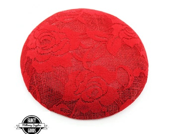 Red - Round - Button Hat Base - Pillbox - Lace & Sinamay Straw - Fascinator - Hat Foundation -Hat Form - Millinery