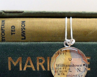 Vintage Map Sterling Silver Pendant Necklace, Your Special Place in th Heart