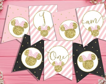 Minnie Mouse Birthday Banner Minnie mouse banner Minnie mouse first birthday party decorations pink and gold 1st birthday banner printable