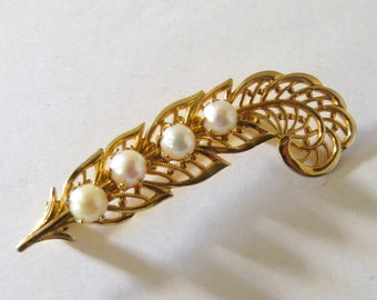 Gold and Pearl Brooch Vintage Bar Pin, Filigree Look, Cutout design, Feather Quill