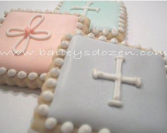 Mini Communion pastel squares  Custom decorated cookies  Communion favors