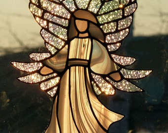 Stained Glass Angel. Guardian angel, sun-catcher,