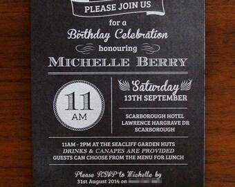 Chalkboard Invitation SAMPLE - Blackboard Invitation with White Ink Printing