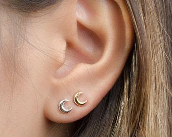 Tiny Moon Earrings, Sterling Silver, Gold Plated, Moon Stud Earrings, Minimalist Post Earrings, Lunaijewelry, Handmade, Gift, STD052