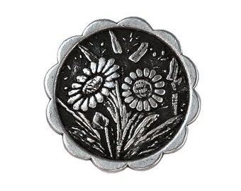 12 Daisies 7/8 inch ( 23 mm ) Metal Buttons Antique Silver Color