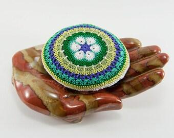 crochet lace stone, mandala, African flower, graphic symbol, circle, crochet rock, bowl element, art object, home decor, purple, white green