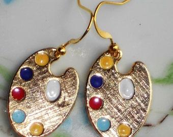 Artist Pallet earrings,Art teacher earrings,Vintage Earrings,Art earrings,Enamel earrings,Gold Plated Dangle Pallete NOS Artsy Paint #1206D