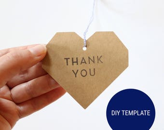 DIY Geometric Heart Thank You Tags (Blank) - Paper Printable Kit PDF - Instant Download