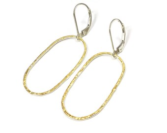 NOVA I Solid Fine Silver, Sterling Silver and 24k Gold Keum Boo Organic Textured Leverarch Hoop Dangle Earrings - Handmade in Australia