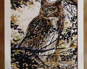Coffee Owl Print