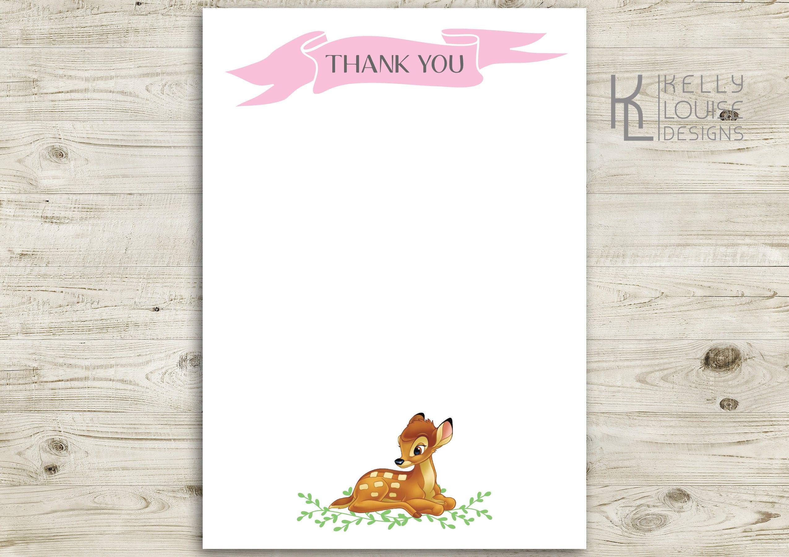 Bambi Birthday Invitation   Free Thank You Card   Printable Bambi ...
