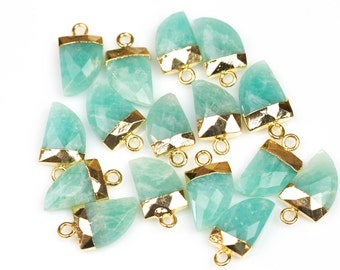 Natural Amazonite Pendant with Electroplated Gold Cap- Horn, Teeth, Tooth