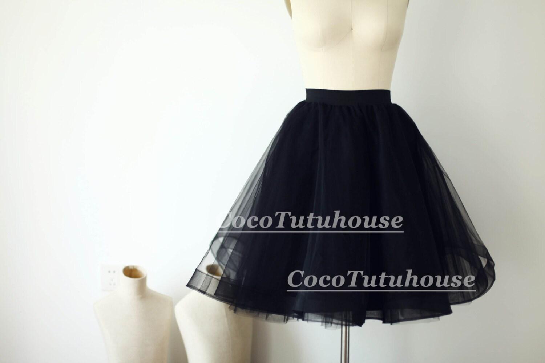 Black Tulle Skirt Horse Hair Women