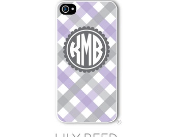 Personalized iPhone Case Custom Monogram Case iPhone 4 5 5s 5c 6 6s 6 Plus, Samsung Galaxy S4 S5 S6 Tough Phone Gingham Plaid Style 225