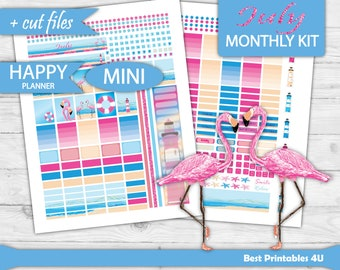 MINI Happy Planner Kit, Juli monatlich kit, Mini Happy Planner monatlichen Kit, Juli Planner Aufkleber bedruckbar, Monatsansicht Cutfile HPM-02