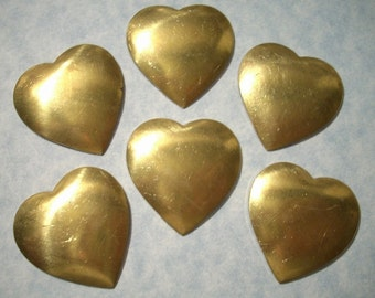 6 Vintage Dapped Brass Heart Stampings