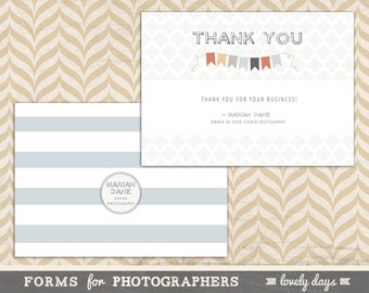 Photographer Thank You Card Template INSTANT DOWNLOAD