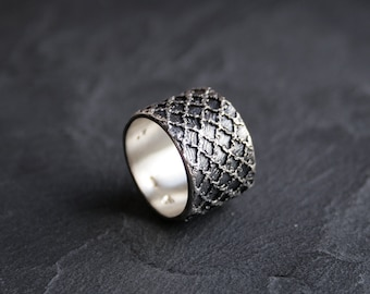 Lacey no 33 - sterling silver lace ring - made to order in your size