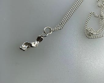 Silver Freeform Cast Pendant with Sterling Silver Curb Chain