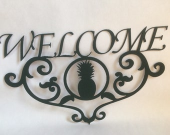 Pineapple Welcome sign - Wall hanger - Home decoration