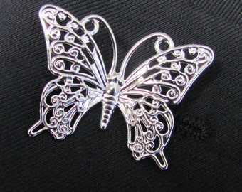 Silver Plated Metal Butterfly  Boutonniere With 2 Inch Gold Stick Lapel Pin