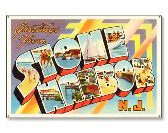 Stone Harbor New Jersey nj Old Retro Vintage Travel Postcard Reproduction Metal Sign Art Wall Decor STEEL not tin 36x24 FREE SHIPPING
