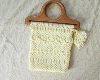 Vintage Macrame Purse with Wooden Handle, lined