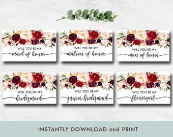 Bridesmaid Proposal Greeting Card, Will you be my bridesmaid, Floral bridesmaid proposal card, Man of Honor, Maid of Honor, Matron of Honor