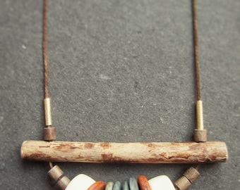 Necklace with various wooden elements, Boho, festival, Browns, Dove Blue