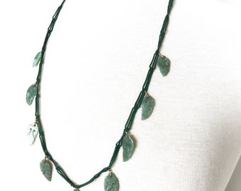 Genuine emerald leaf necklace
