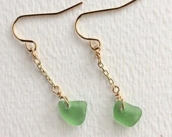 classic gold and sea glass dangle earring