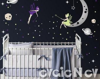 Moon and Stars Fairy Wall Decals - Nursery Star Faries Wall Decals, Baby Nursery Decal and Baby Nursery Sticker -  PLMNSTR010