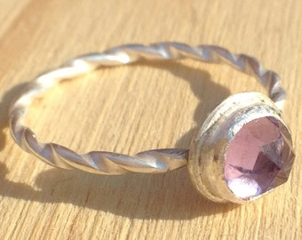Sterling Silver Stacking Ring with Rose Cut Amethyst