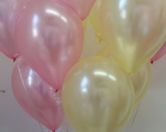 Pink & Yellow Balloons, Baby Shower, First Birthday, Pretty Pastel Balloons, 18 Balloon Kit