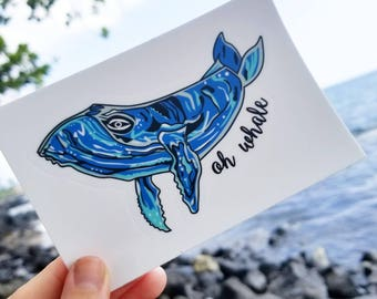 Oh Whale, Whale Sticker, Laptop Sticker, Vinyl Sticker, Baby Gift, Humpback Whale, Whale Art, Whale Print, Cute Stickers, Puns
