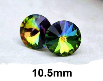 Vitrail Medium Studs,  10.5mm, Swarovski, Rivoli Stud Earrings, VM Crystal Studs, Rainbow Stud Earrings
