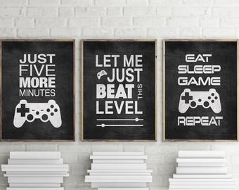 Set of 3 Distressed Black and White Video Game Graphic Art Typography Prints 8x10 , 11x14 Matted Options