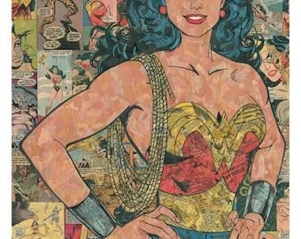 Wonder Woman Comic Collage - giclee print