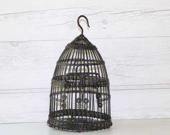 Vintage Small Black Wire Decorative Bird Cage, Vintage Metal Bird Cage, Vintage Bird House
