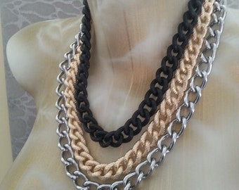 OOAK Multi Colored Multi metals Chunky Rope Chains Necklace Gold Steel Silver Black Hip Hop Underground Fashionista Bey Rapstar Unisex Glam