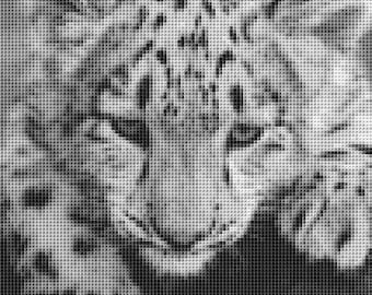 Snow Leopard Cub counted cross stitch chart
