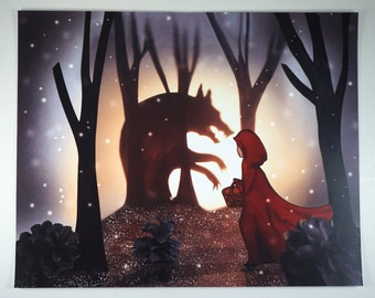Little Red Riding Hood Depiction - 8x10 - Art Print - Original Drawing - Illustration - Layered Artwork - Photography - Backlit - Fairy Tale