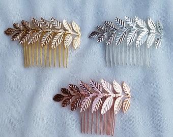 LAUREL | Laurel leaf hair comb in Silver, Gold, or Rose Gold