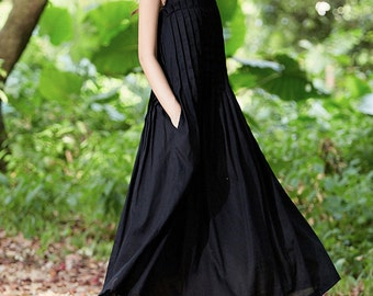 linen dress in black, black dress, maxi dress, black maxi dress, linen maxi dress, tunic dress, sleeveless dress, pleated dress