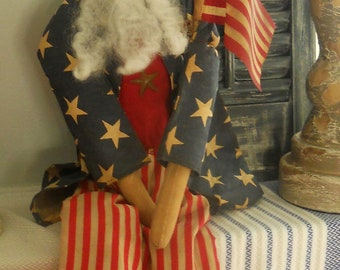Primitive 4th of July Long Skinny Uncle Sam