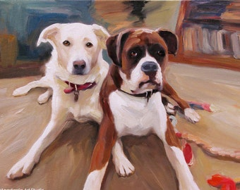 Dog Painting - Custom Portrait on Canvas from Your Photos - Hand Painted & Stretched